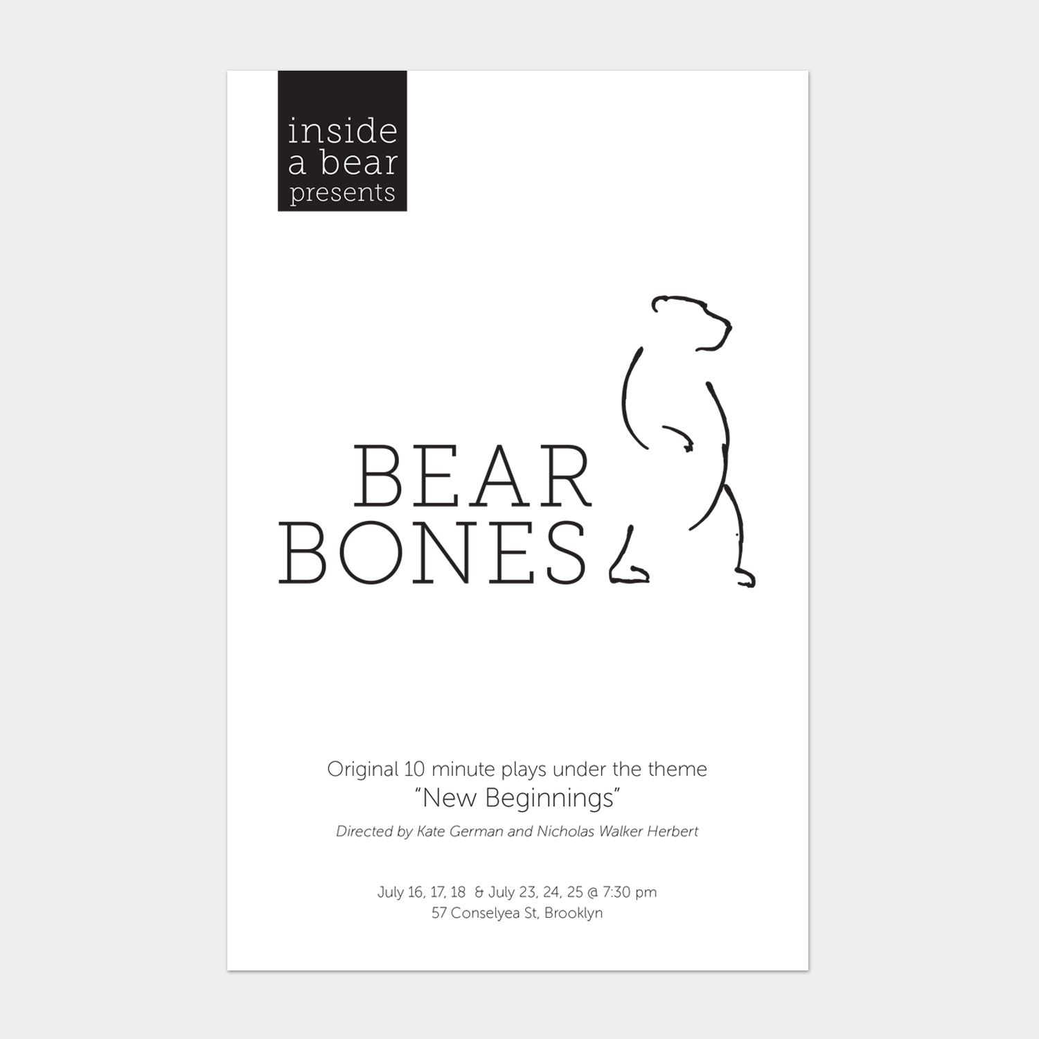 inside a bear: Bear Bones Show Program