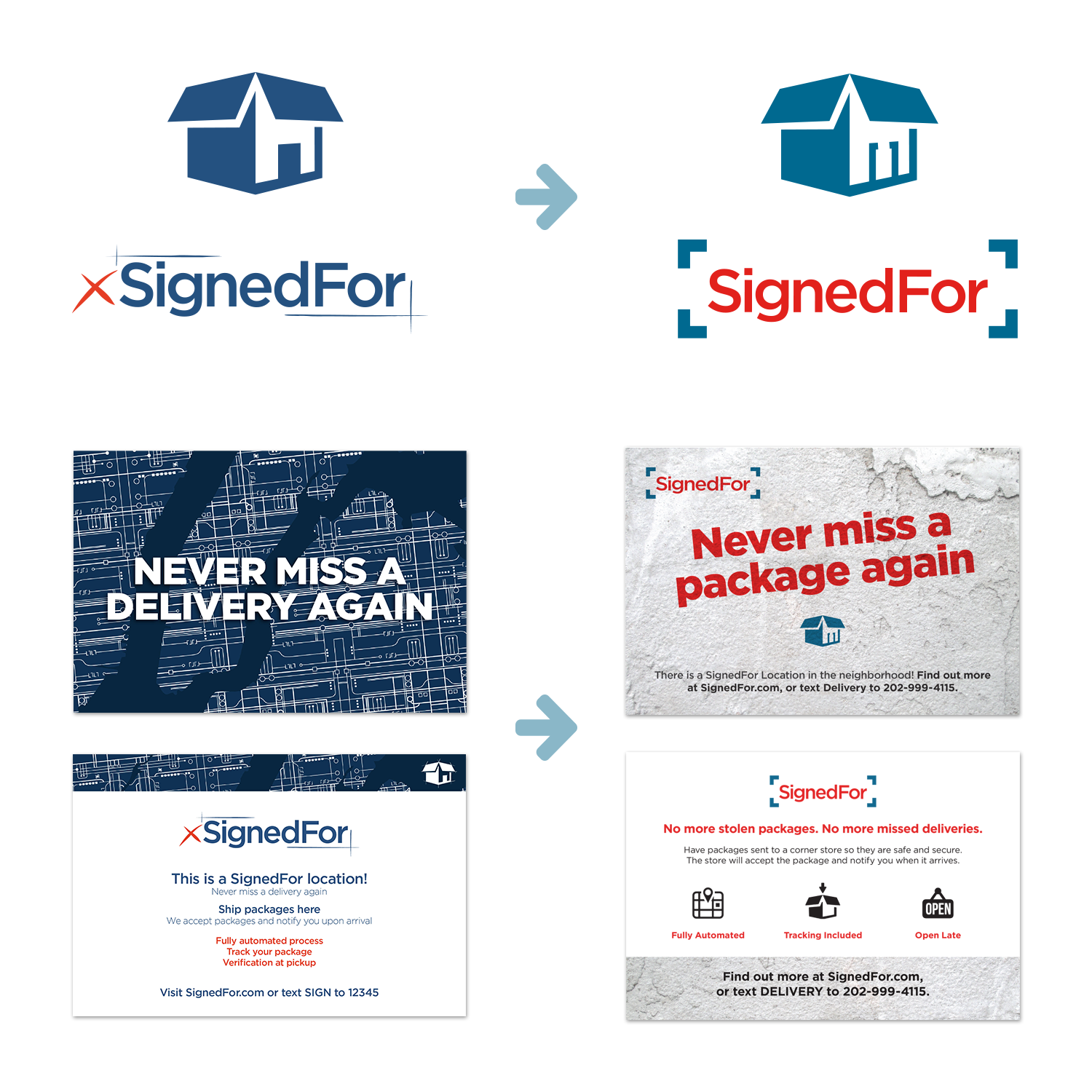 SignedFor Branding - before & after